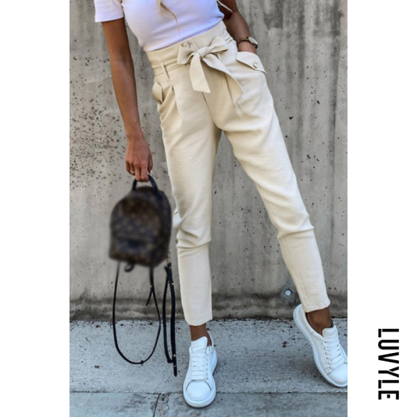 Bow Knot Solid Casual Pants