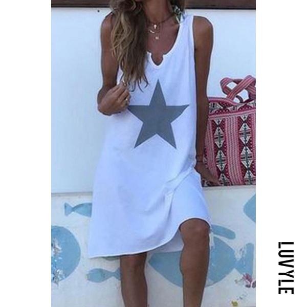White Sexy Casual Print Sleeveless Dress White Sexy Casual Print Sleeveless Dress