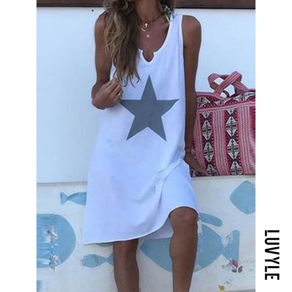 White Sexy Casual Print Sleeveless Dress White Sexy Casual Print Sleeveless Dress