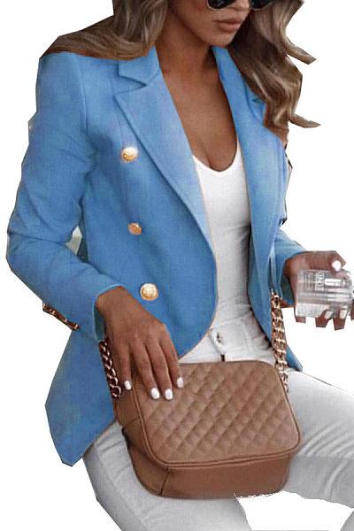Commuting Pure Colour Long Sleeve Button Blazer