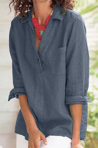 Simple Women Casual Lapel Long Sleeve Plain Shirt