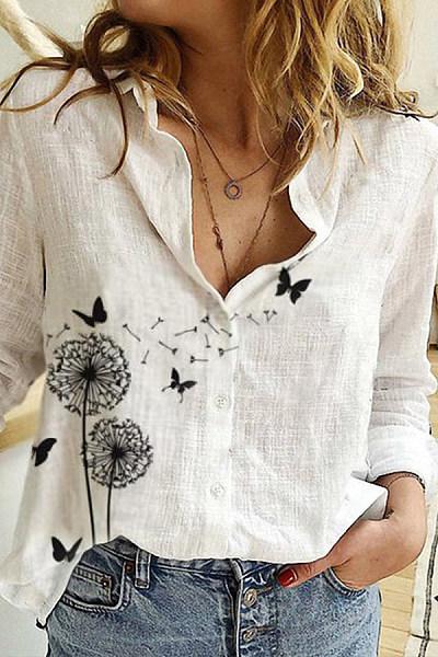 Flower Printed Long Sleeve Blouse