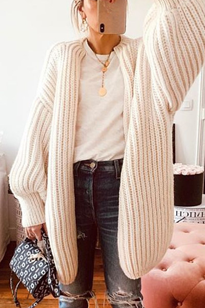 Collarless Loose-Fitting Plain Knit Cardigan