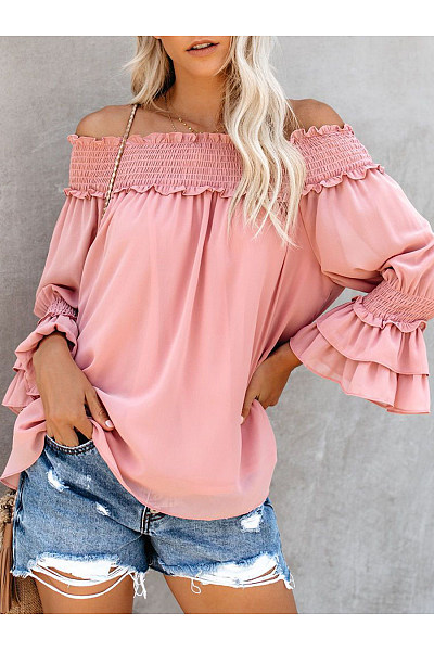 Daily Casual Elastic Band Collar Trumpet Sleeves Beam Top