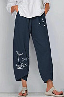 Casual Printed Loose Cropped Trousers