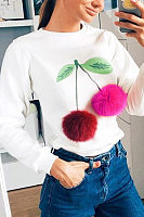 Fashion Sweet Round Neck Cheery Sweatshirt