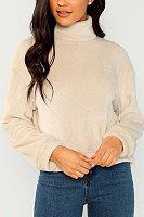 High Neck  Plain  Sweatshirts