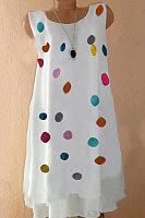 Round Neck Polka Dot Casual Dresses