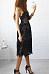 Spaghetti Strap  Decorative Lace  Plain  Sleeveless Skater Dresses