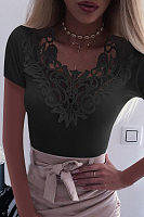 V Neck Lace Splice Plain T-shirt