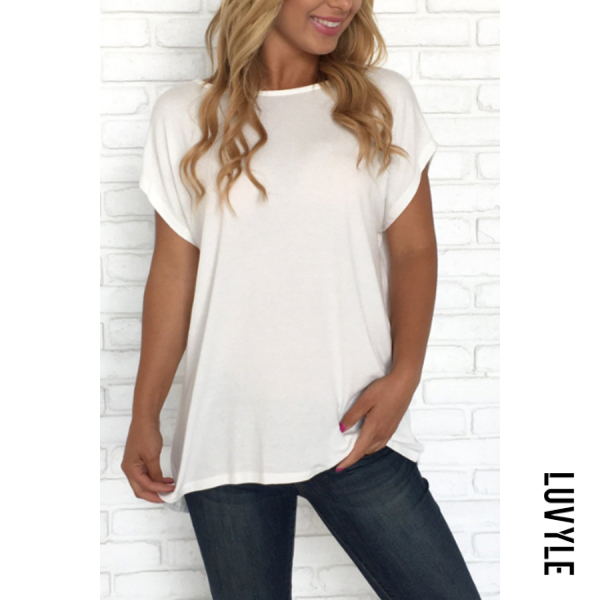 White Crew Neck Backless Plain T-Shirts White Crew Neck Backless Plain T-Shirts