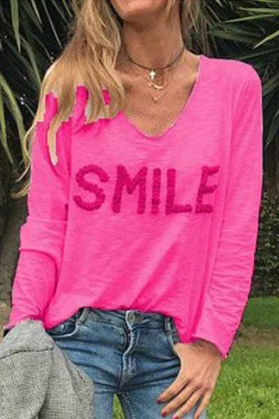 Casual V Neck Long Sleeve Letters Embroidery T-Shirt