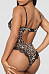 Spaghetti Strap  Backless  Leopard Printed Teddy