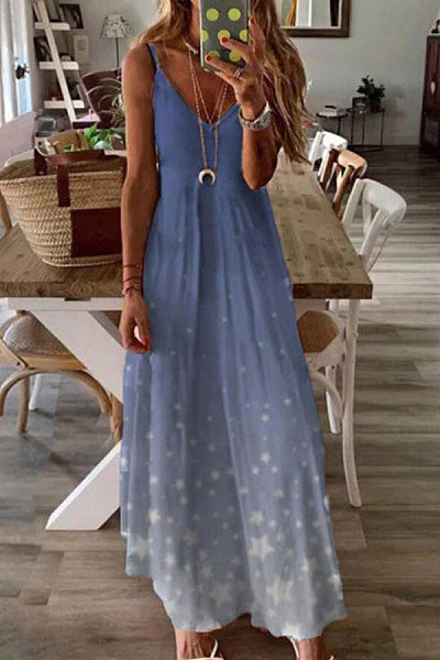 Vacation Print V-Neck Spaghetti Maxi Dresses