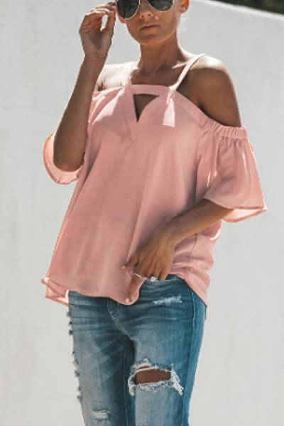 Sexy V-neck Solid Color Chiffon Blouse