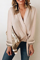 V Neck Knot Plain Blouse