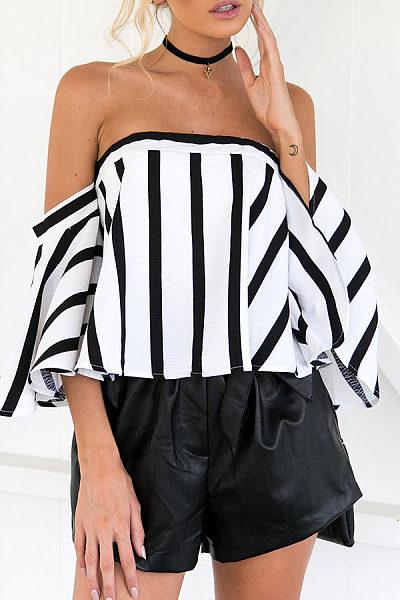 Strapless  Backless Zipper  Striped T-Shirts