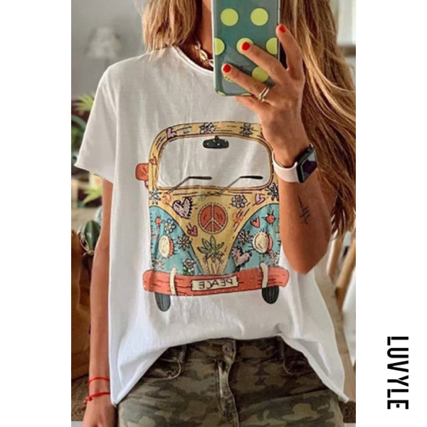 White Round Neck Printed Colour T-Shirt White Round Neck Printed Colour T-Shirt