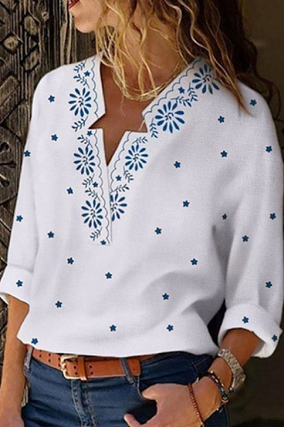 Casual V-Neck Star Print Long Sleeve Shirt
