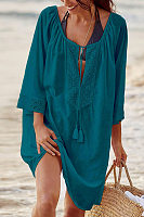 Bohemian V-Neck Solid Color Cotton-Trimmed Long-Sleeved Dress