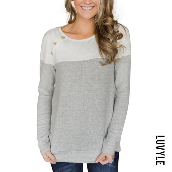 Light Gray Button-Decorated Long-Sleeved T-Shirt Light Gray Button-Decorated Long-Sleeved T-Shirt