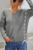 Crochet  Plain  Long Sleeve Sweaters