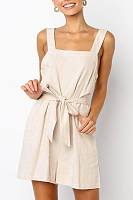 Backless  Overall  Plain  Sleeveless  Playsuits
