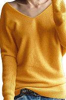 V  Neck  Plain  Basic Sweaters