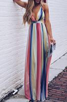 Spaghetti Strap  Bohemian Printed  Sleeveless Maxi Dresses