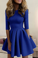 Round Neck  Plain  Half Sleeve Skater Dresses