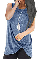 Round Neck  Asymmetric Hem  Plain Sleeveless T-Shirts