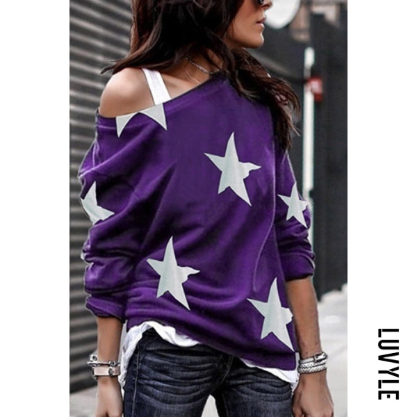 Purple Open Shoulder Stars Printed T-Shirts Purple Open Shoulder Stars Printed T-Shirts