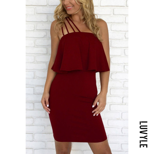 Claret Red Strapless Backless Flounce Plain Sleeveless Bodycon Dresses Claret Red Strapless Backless Flounce Plain Sleeveless Bodycon Dresses