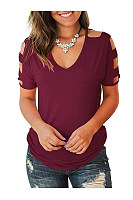 Casual V-Neck Cutout T-Shirt