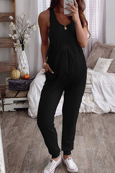 Maternity Solid Color Sleeveless Lace Up Jumpsuits