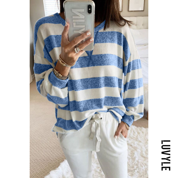 Blue Casual Round Neck Long Sleeve Striped T-Shirt Blue Casual Round Neck Long Sleeve Striped T-Shirt