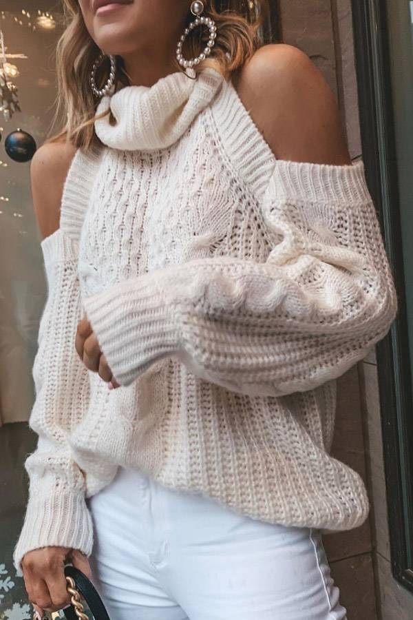 Loose Off Shoulder White Sweater with Heap Collar