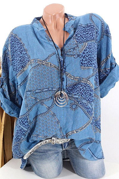 V Neck Printed Roll-UP Sleeve Casual Blouses