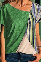 Casual Colorful Stripe Stitching Contrast Irregular Collar Short Sleeve T-Shirt