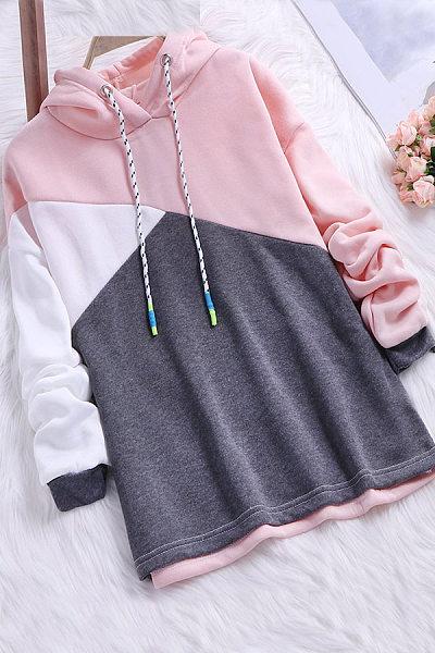 Hooded  Color Block  Long Sleeve Hoodies