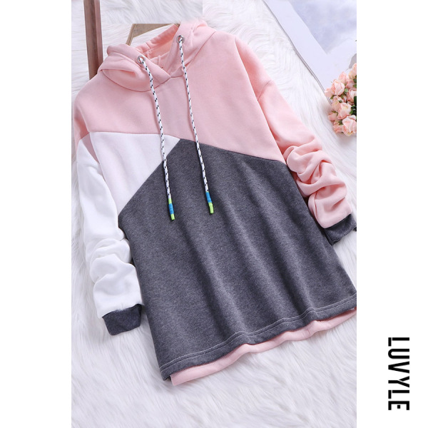 Pink Hooded Color Block Long Sleeve Hoodies Pink Hooded Color Block Long Sleeve Hoodies