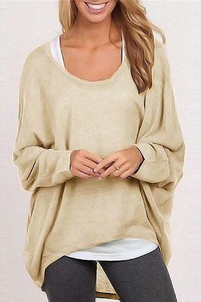 Round Neck  Asymmetric Hem  Plain  Batwing Sleeve Sweaters