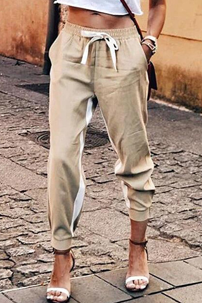 Colorblock casual trousers