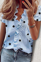 Ruffle Neckline Short Sleeve Star Blouse