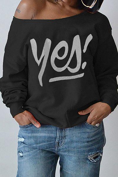 One Shoulder  Letters T-Shirts