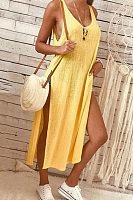 Round Neck  High Slit  Plain  Sleeveless Maxi Dresses
