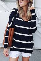 Fashion Round Neck Striped Long Sleeve T-Shirt