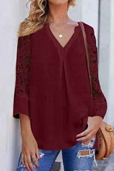 Casual V-neck Cropped Sleeve Lace Top