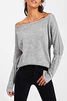 Scoop Neck  Plain  Batwing Sleeve T-Shirts