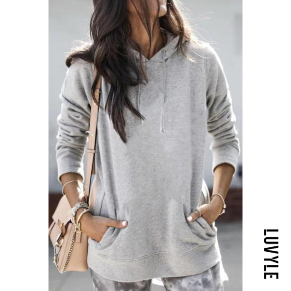 Gray Solid Loose Pocket Casual Hoody Gray Solid Loose Pocket Casual Hoody
